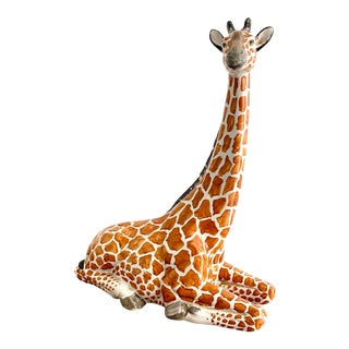Palm Beach Fab Large Italian Giraffe Statue For Sale
