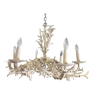 1950s White Iron Faux Coral Chandelier For Sale