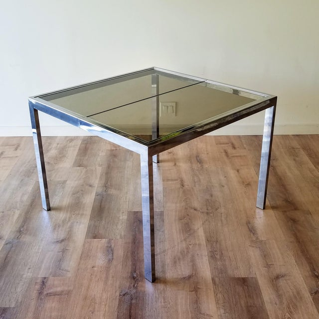 1970s Milo Baughman Square Chrome and Smoked Glass Dining Table For Sale - Image 12 of 12