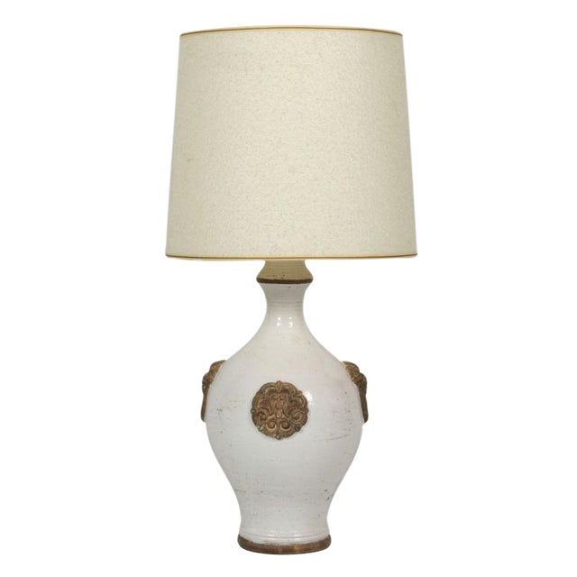 Ugo Zaccagnini Oatmeal & Gilt Glazed Ceramic Table Lamp For Sale