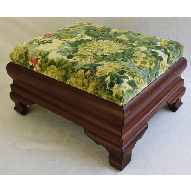 Early Carved 1900s Foot Stool w/ Scalamandre Marly Velvet Fabric - Image 5 of 11