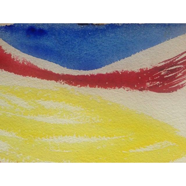 "Josephine Martinelli Landor Red Mountain c. 1950's Gouache on Paper 24.75"" x 18.75"" Unframed Attributed to Josephine..."