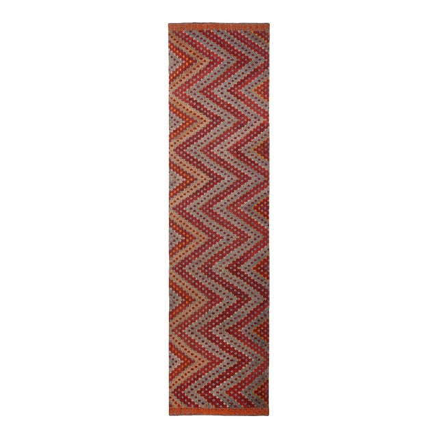 Vintage Mid-Century Geometric Red and Blue Wool Kilim Runner - 2′10″ × 10′10″ For Sale