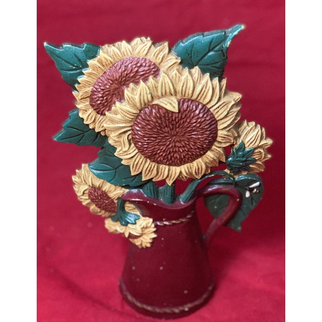 Vintage Mid Century Hand Painted Sunflowers Cast Iron Door Stop For Sale - Image 11 of 12