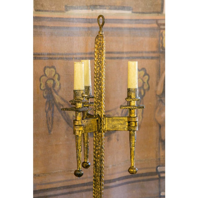 1940s Brutalist Gilt-Iron Floor Lamp For Sale - Image 5 of 7