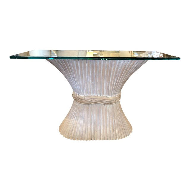 McGuire Wheat Sheath Style Console Table For Sale