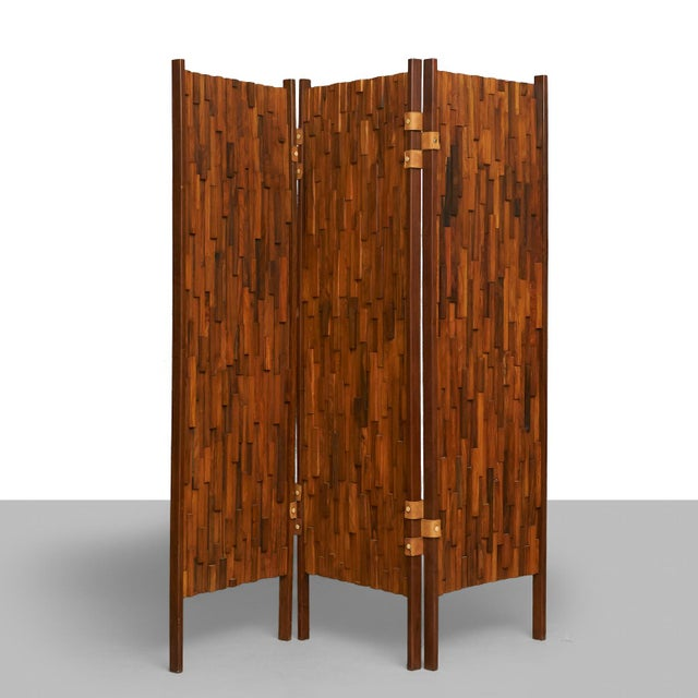 Brutalist Brazilian rosewood screens in the manner of Percival Lafer - a pair For Sale - Image 3 of 6