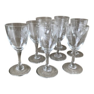 Noritake Sasaki Etched Wheat Pattern Crystal Cordial Glasses - Set of 8 For Sale
