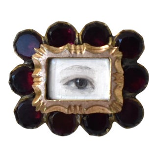 Antique Georgian Garnet Brooch With Contemporary Lover's Eye Painting by S. Carson For Sale