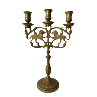19th C Antique European Brass Candelabra W/Lions For Sale