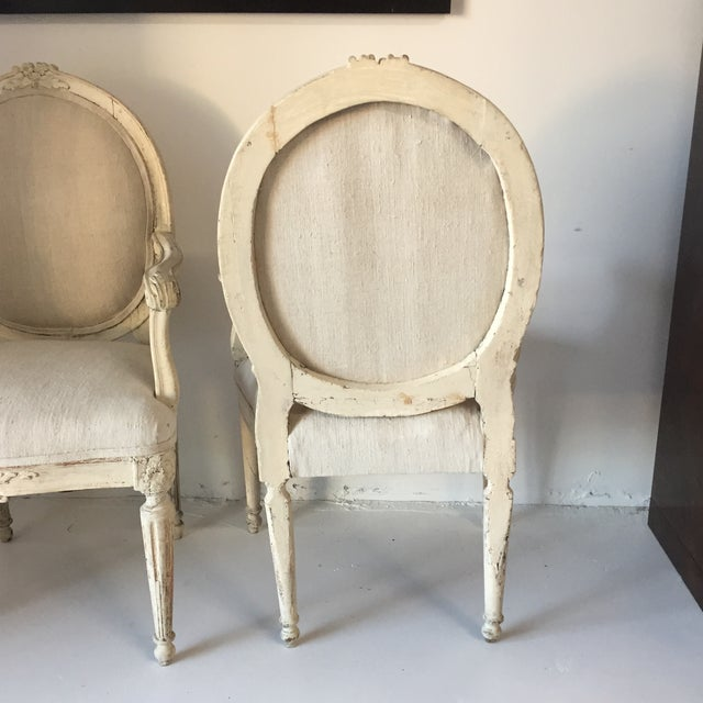 Swedish Antique White Arm Chairs - a Pair For Sale In Savannah - Image 6 of 12