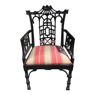 Baker Furniture Company Chinese Chippendale Black Lacquer Arm Chair