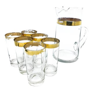 Vintage Mid-Century Large Glass Pitcher Set With Gold Detailing - 7 Piece Set For Sale