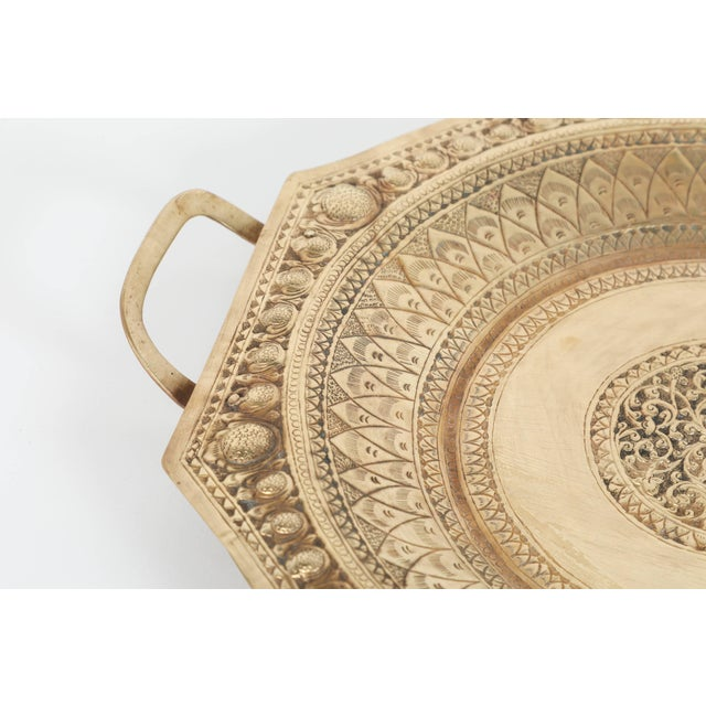 Early 20th Century Indo Persian Brass Charger Serving Tray For Sale - Image 5 of 9