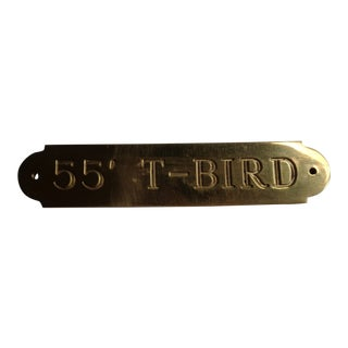 Vintage Brass 55 T-Bird Thunderbird Auto Sign or Plaque For Sale