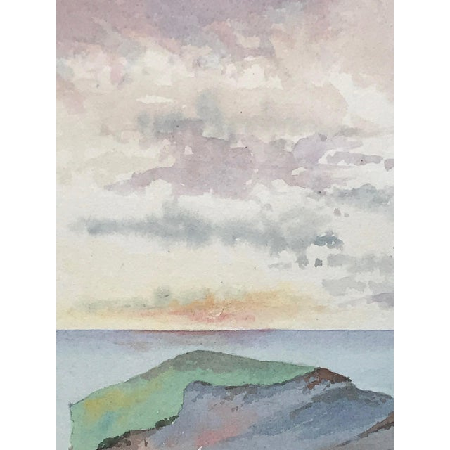 Antique English Watercolor Painting of Sunset on Coastal Rock Formation For Sale In New York - Image 6 of 9