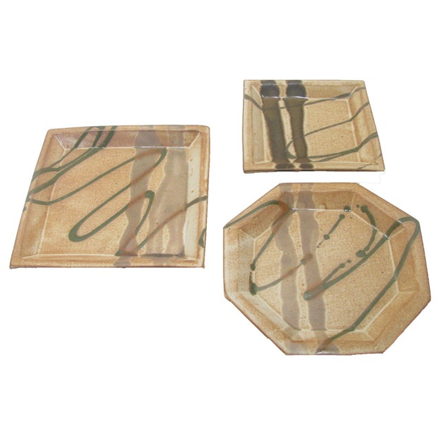 Mid 20th Century Abstract Bamboo Art Pottery, Signed, Set of 3 For Sale - Image 5 of 7