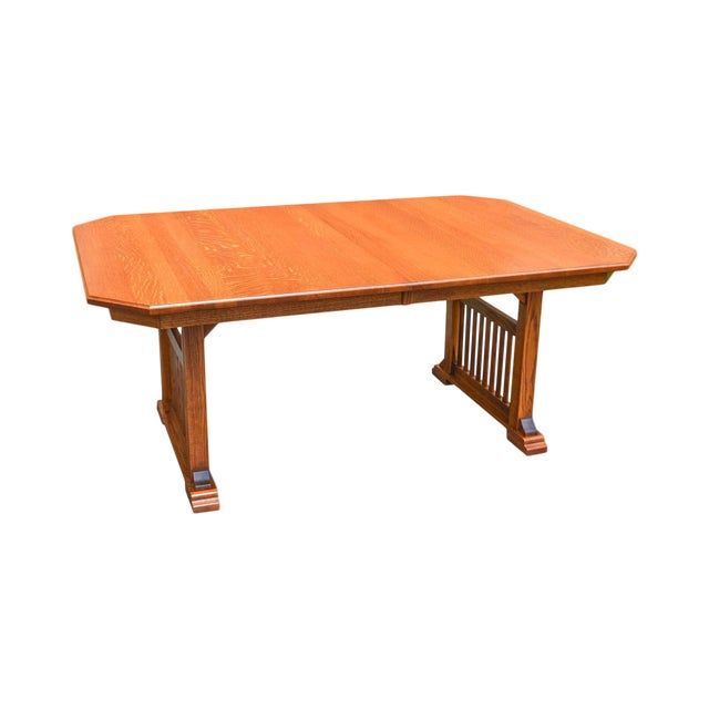 Cherrico Furniture Hand Crafted Mission Oak Dining Table W Leaves - Dining table with 3 leaves