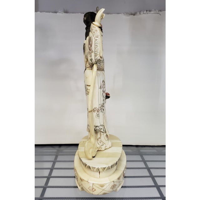 Early 20th Century Japanese Kuan Yin Performing Blessing Okimono Bovine Bone Carving For Sale - Image 4 of 6