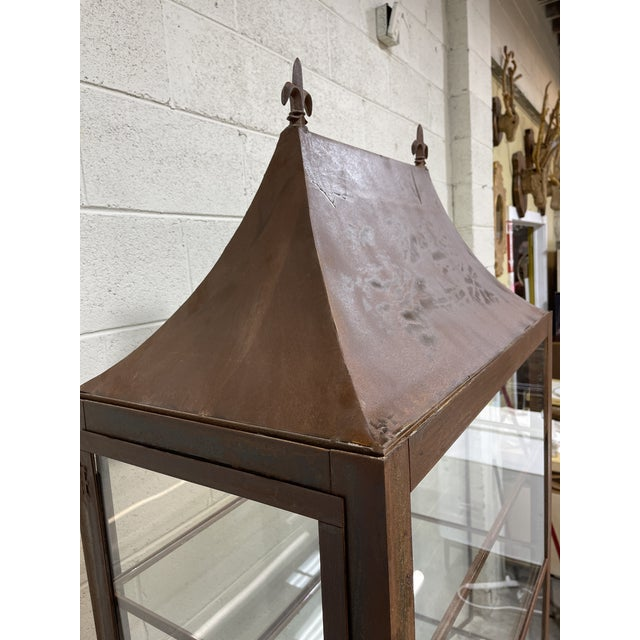 Pagoda Style Rustic Glass Metal Display Case For Sale - Image 9 of 13