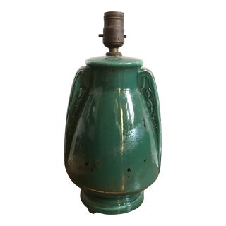 Antique Asian Green Painted Glass Table Lamp