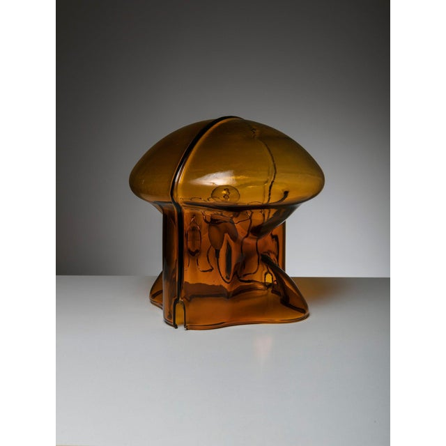 Medusa table lamp by Umberto Riva for VeArt Large orange Murano glass shell hosting and emphasizing this remarkable...