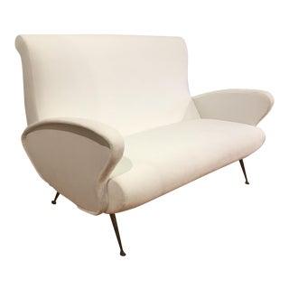 1960s Italian Mid-Century Modern White Velvet Settee