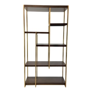 Modern Wood and Brass Metal Asymmetrical Etagere For Sale