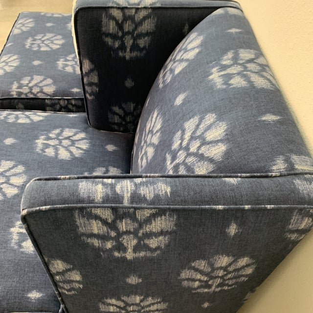 Blue and White Contemporary Wing Chairs For Sale - Image 4 of 8
