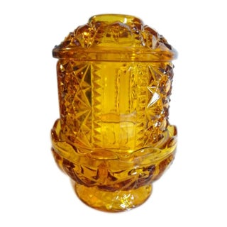 1950s Wexford Anchor Hocking Cut Amber Glass Fairy Lite Candle Holder For Sale