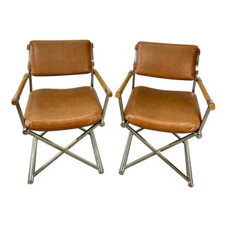 Vintage Daystrom Milo Baughman Style Chrome Directors Accent Chairs - a Pair For Sale