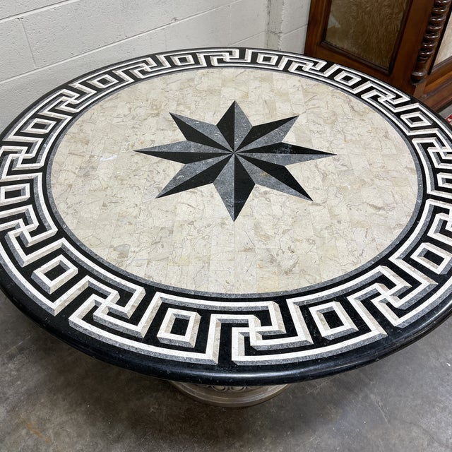 Tessellated Stone Top Greek Key Entryway Game Table For Sale - Image 4 of 12
