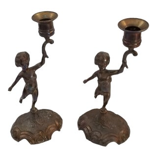 Early 20th Century Antique French Brass Cherub Candle Holders - a Pair For Sale