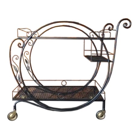 1940's Salterini Wrought Iron Rolling Outdoor Bar Serving Cart - Image 1 of 7