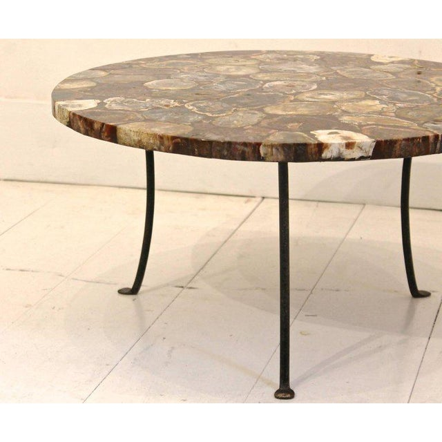 Set of Four Petrified Wood and Wrought Iron Coffee Tables For Sale - Image 4 of 10