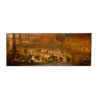 17th Century European Landscape Fantastic Painting of a Festival For Sale