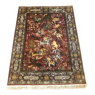 """Silk Islamic Kashmir Pictorial Hand Knotted Rug - 5'1"""" X 7'5"""" For Sale"""