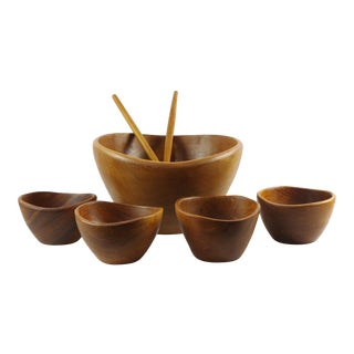 1950s Mid-Century Modern Teak Salad Bowl Set With Servers - Set of 7 For Sale