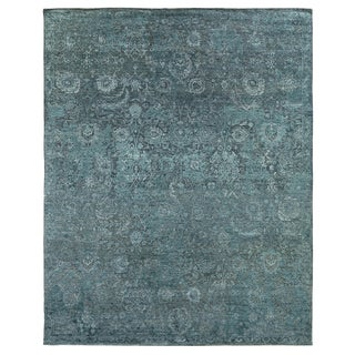 Bryant Blue/Light Blue Hand knotted Wool/Viscose/Cotton Area Rug - 12'x15' For Sale