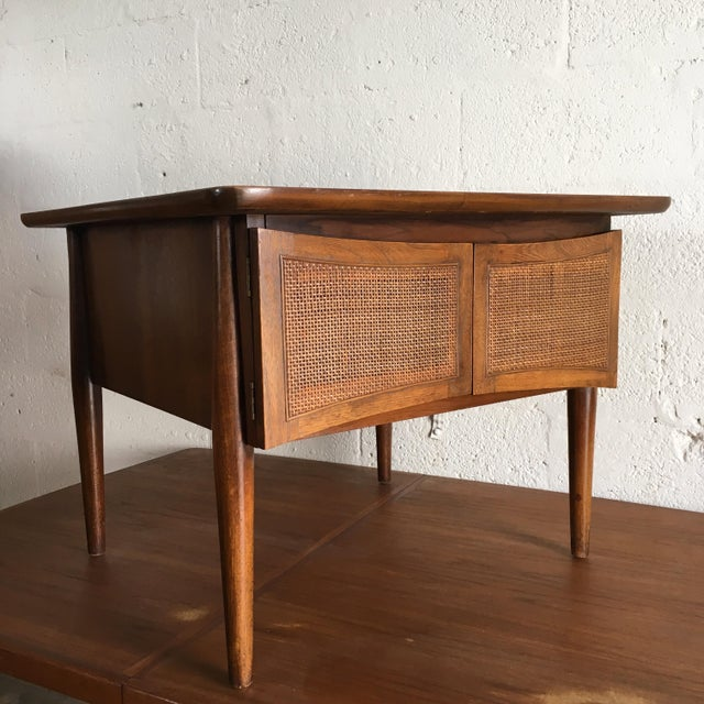 Mid-Century Modern Side Table With Caned Doors . For Sale - Image 11 of 11