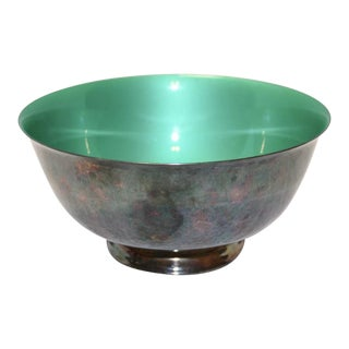 Reed & Barton Silver Plated & Bright Green Enamel Bowl
