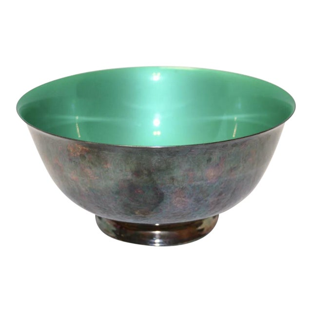 Reed & Barton Silver Plated & Bright Green Enamel Bowl For Sale
