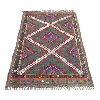 Vintage Oushak Nomad's Handmade Small Kilim Rug For Sale
