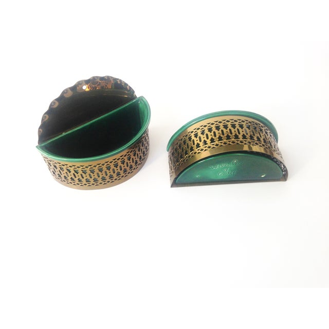 Vintage Brass & Ceramic Wall Pockets - A Pair - Image 4 of 4
