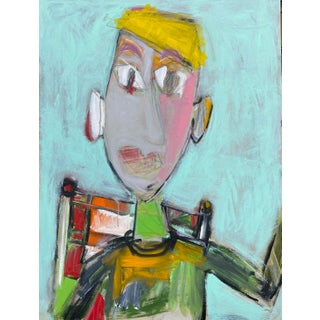 """Wally"" Contemporary Abstract Figure Acrylic Painting by Sarah Trundle For Sale"