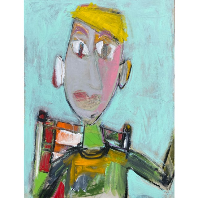"""""""Wally"""" Contemporary Abstract Figure Acrylic Painting by Sarah Trundle For Sale"""