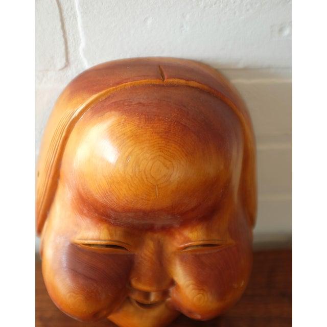 Wood Vintage Hand Carved Wooden Japanese Mask For Sale - Image 7 of 9