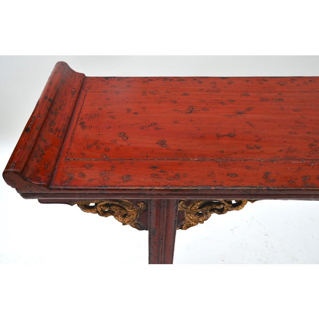 19th C Chinese Red Lacquered Altar Table With Gold Detail For Sale In Los Angeles - Image 6 of 7