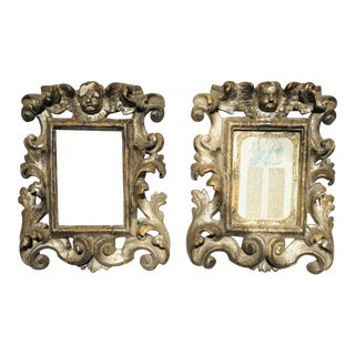 18th-Century Italian Silver-Gilt Baroque Frames with Angels - a Pair For Sale