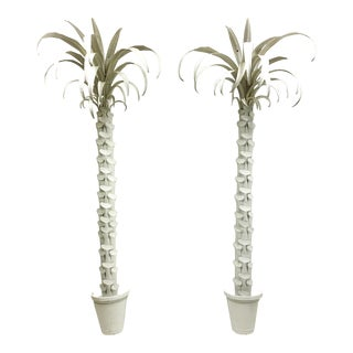 Life Size Italian Hollywood Regency Style White Tole Palm Trees - a Pair For Sale